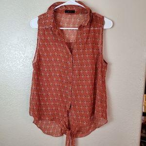 Mine sleeveless sheer paisley tie front boho top
